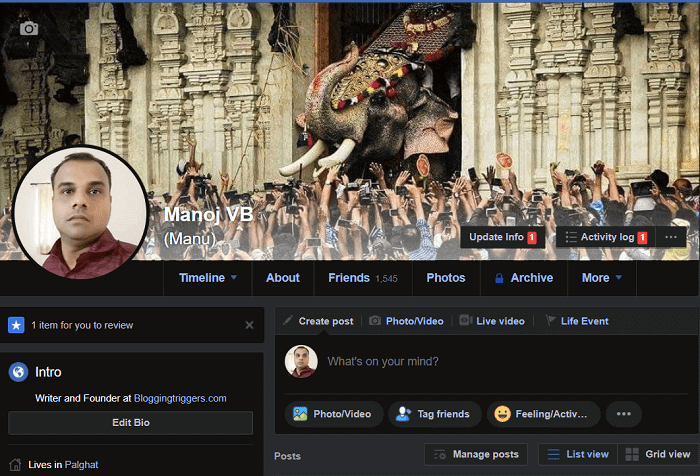 Facebook dark mode desktop
